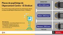 Places de pupil·latge aparcament Centre - El Sindicat